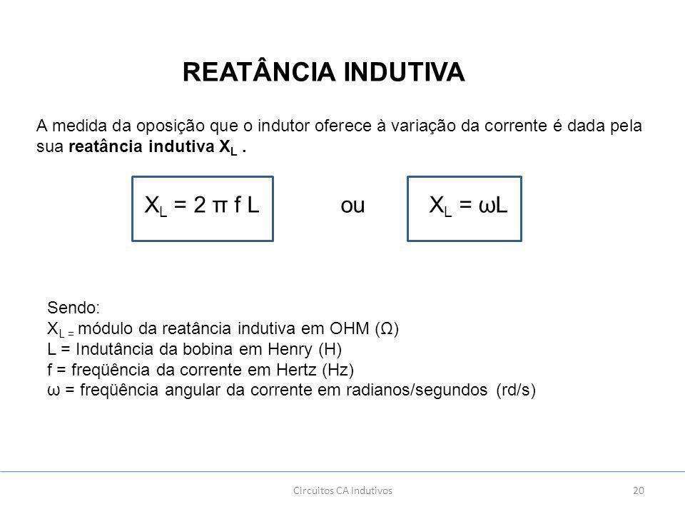 20Circuitos CA Indutivos REATÂNCIA INDUTIVA A medida da oposição que o indutor oferece à variação da corrente é dada pela sua reatância indutiva X L.