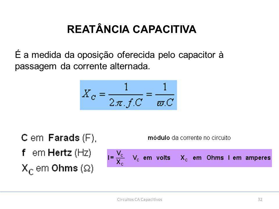 32Circuitos CA Capacitivos REATÂNCIA CAPACITIVA É a medida da oposição oferecida pelo capacitor à passagem da corrente alternada.