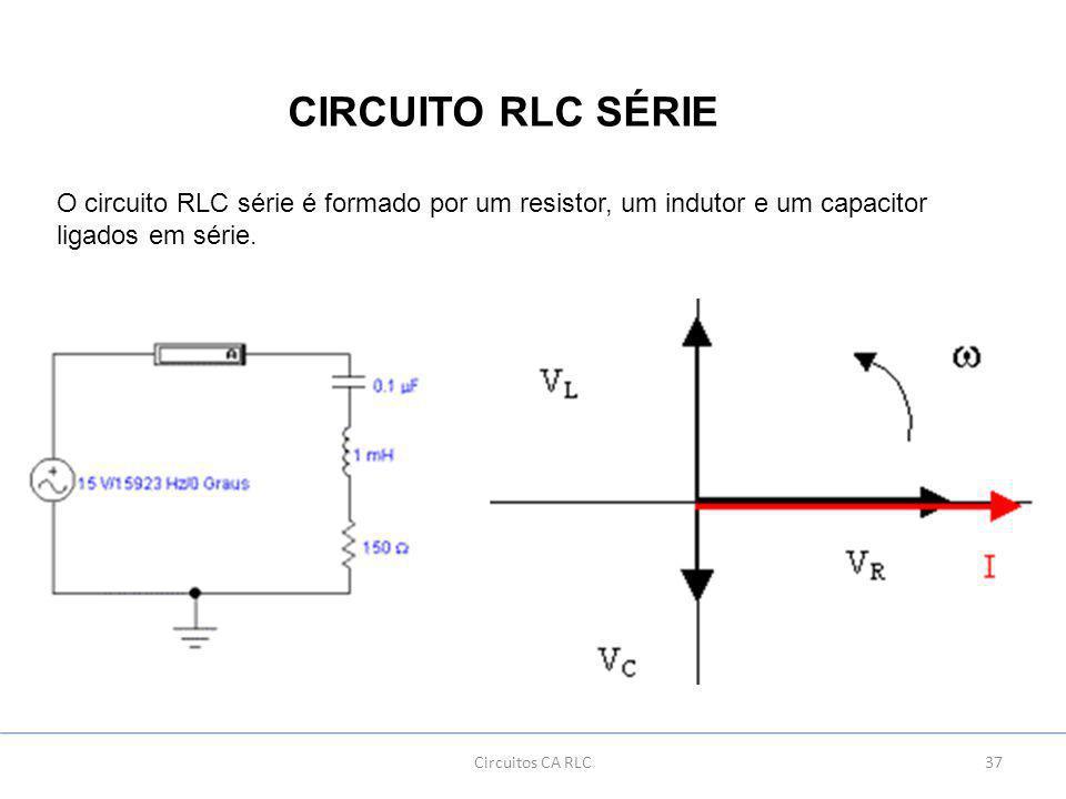 37Circuitos CA RLC CIRCUITO RLC SÉRIE O circuito RLC série é formado por um resistor, um indutor e um capacitor ligados em série.