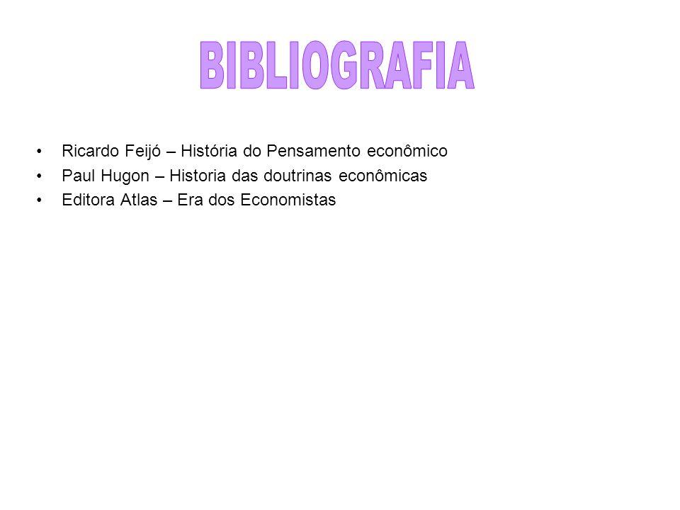 Ricardo Feijó – História do Pensamento econômico Paul Hugon – Historia das doutrinas econômicas Editora Atlas – Era dos Economistas