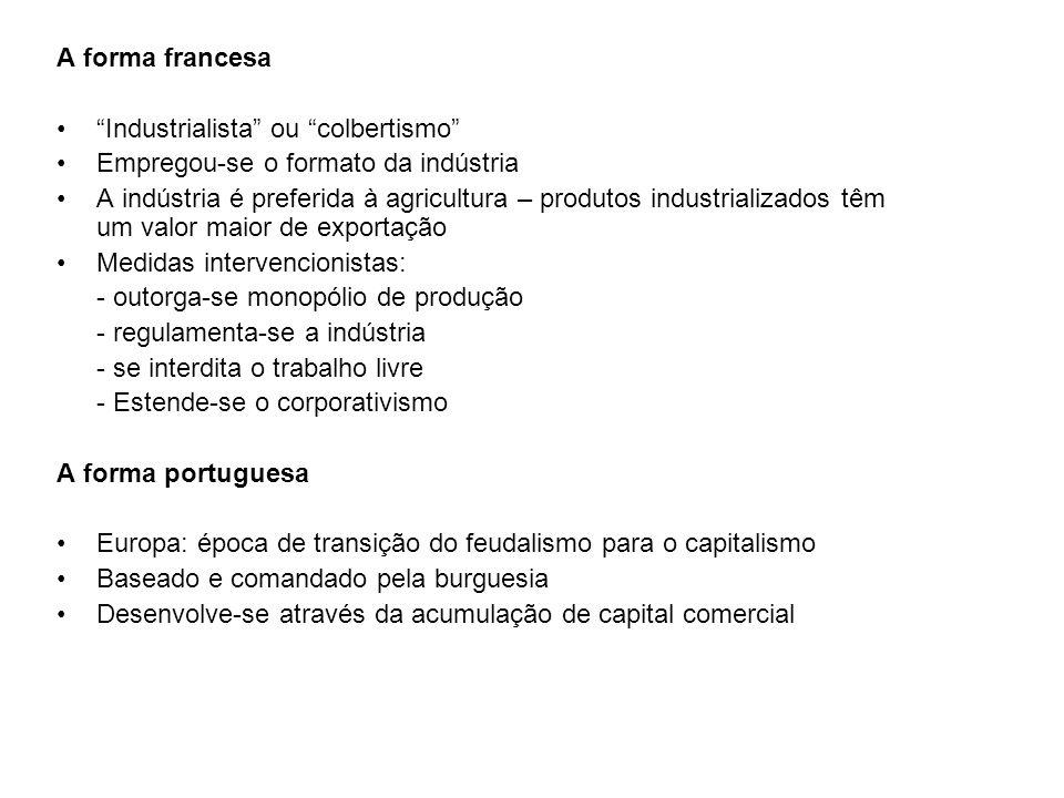 A forma francesa Industrialista ou colbertismo Empregou-se o formato da indústria A indústria é preferida à agricultura – produtos industrializados têm um valor maior de exportação Medidas intervencionistas: - outorga-se monopólio de produção - regulamenta-se a indústria - se interdita o trabalho livre - Estende-se o corporativismo A forma portuguesa Europa: época de transição do feudalismo para o capitalismo Baseado e comandado pela burguesia Desenvolve-se através da acumulação de capital comercial