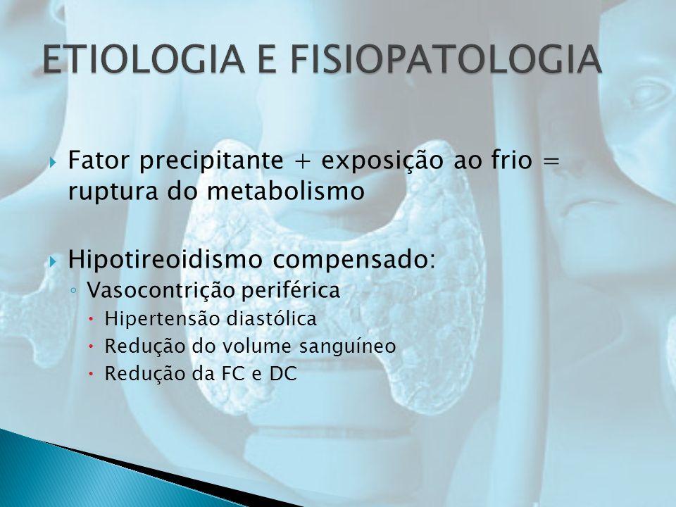 Fator precipitante + exposição ao frio = ruptura do metabolismo Hipotireoidismo compensado: Vasocontrição periférica Hipertensão diastólica Redução do volume sanguíneo Redução da FC e DC