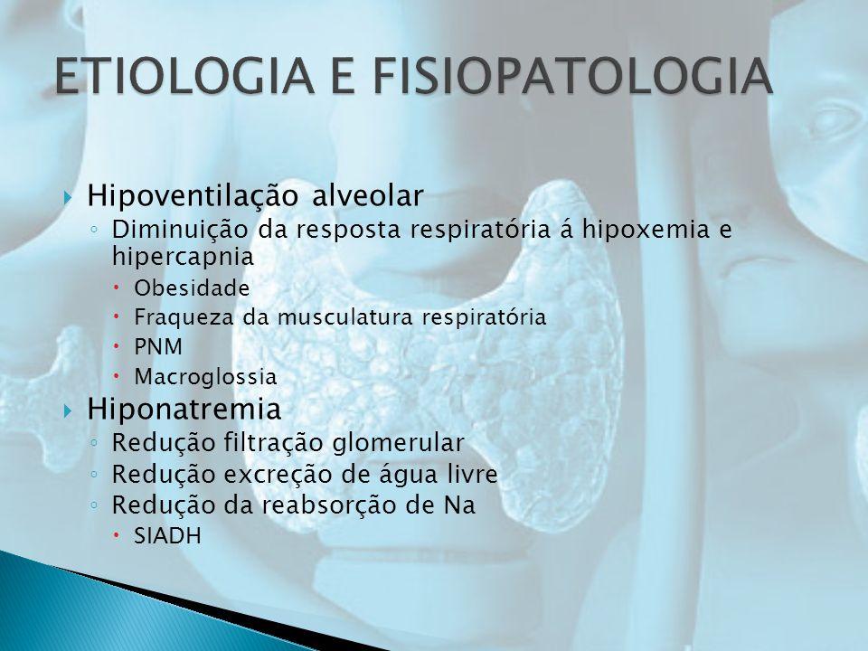 Hipoventilação alveolar Diminuição da resposta respiratória á hipoxemia e hipercapnia Obesidade Fraqueza da musculatura respiratória PNM Macroglossia Hiponatremia Redução filtração glomerular Redução excreção de água livre Redução da reabsorção de Na SIADH