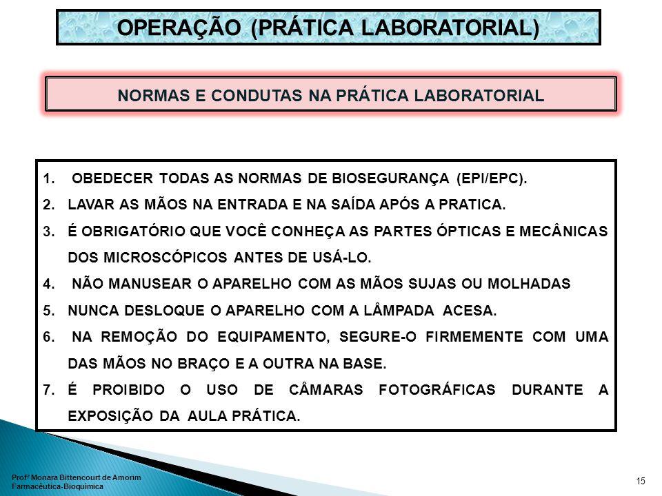OPERAÇÃO (PRÁTICA LABORATORIAL) NORMAS E CONDUTAS NA PRÁTICA LABORATORIAL 1. OBEDECER TODAS AS NORMAS DE BIOSEGURANÇA (EPI/EPC). 2.LAVAR AS MÃOS NA EN