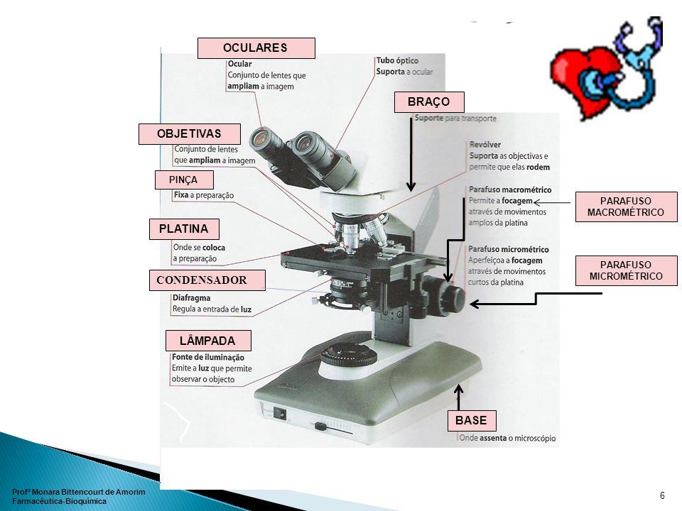 CONDENSADOR OCULARES OBJETIVAS LÂMPADA BASE Profª Monara Bittencourt de Amorim Farmacêutica-Bioquímica 6 PLATINA BRAÇO PINÇA PARAFUSO MACROMÉTRICO PAR