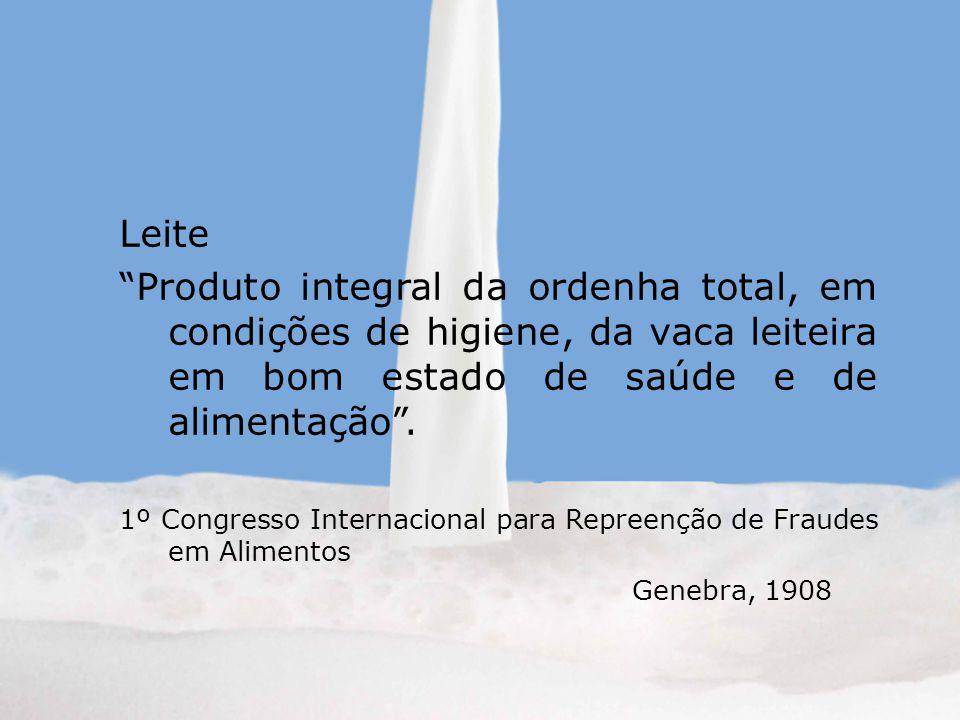 Leite Produto integral da ordenha total, em condições de higiene, da vaca leiteira em bom estado de saúde e de alimentação. 1º Congresso Internacional