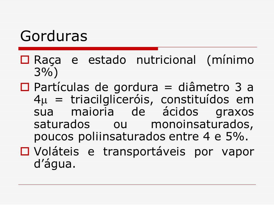 Gorduras Raça e estado nutricional (mínimo 3%) Partículas de gordura = diâmetro 3 a 4 = triacilgliceróis, constituídos em sua maioria de ácidos graxos