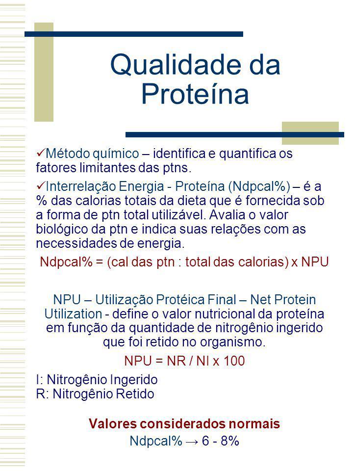 Qualidade da Proteína Método químico – identifica e quantifica os fatores limitantes das ptns. Interrelação Energia - Proteína (Ndpcal%) – é a % das c