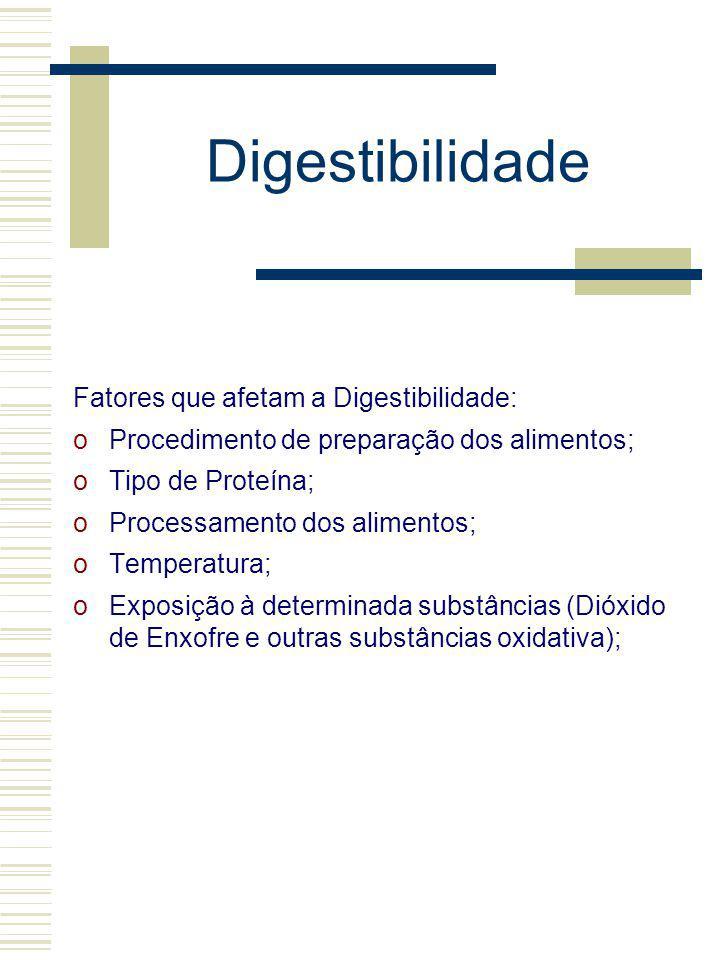 Digestibilidade Fatores que afetam a Digestibilidade: oProcedimento de preparação dos alimentos; oTipo de Proteína; oProcessamento dos alimentos; oTem