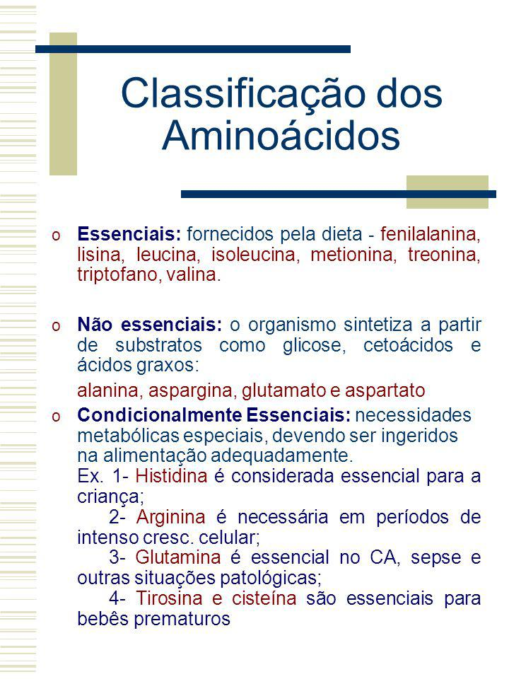 Classificação dos Aminoácidos o Essenciais: fornecidos pela dieta - fenilalanina, lisina, leucina, isoleucina, metionina, treonina, triptofano, valina