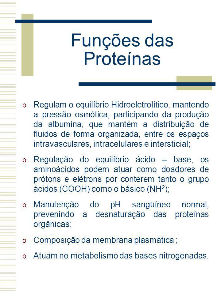 Funções das Proteínas o Regulam o equilíbrio Hidroeletrolítico, mantendo a pressão osmótica, participando da produção da albumina, que mantém a distri