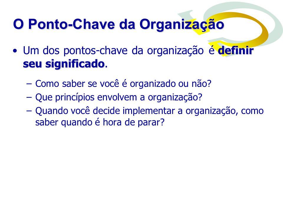 definir seu significadoUm dos pontos-chave da organização é definir seu significado. –Como saber se você é organizado ou não? –Que princípios envolvem