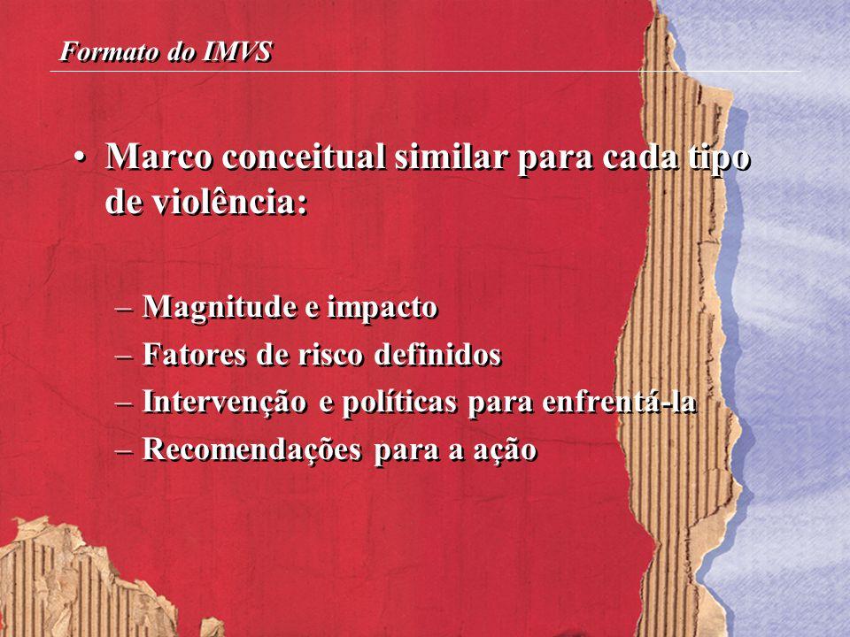 Marco conceitual similar para cada tipo de violência: –Magnitude e impacto –Fatores de risco definidos –Intervenção e políticas para enfrentá-la –Reco