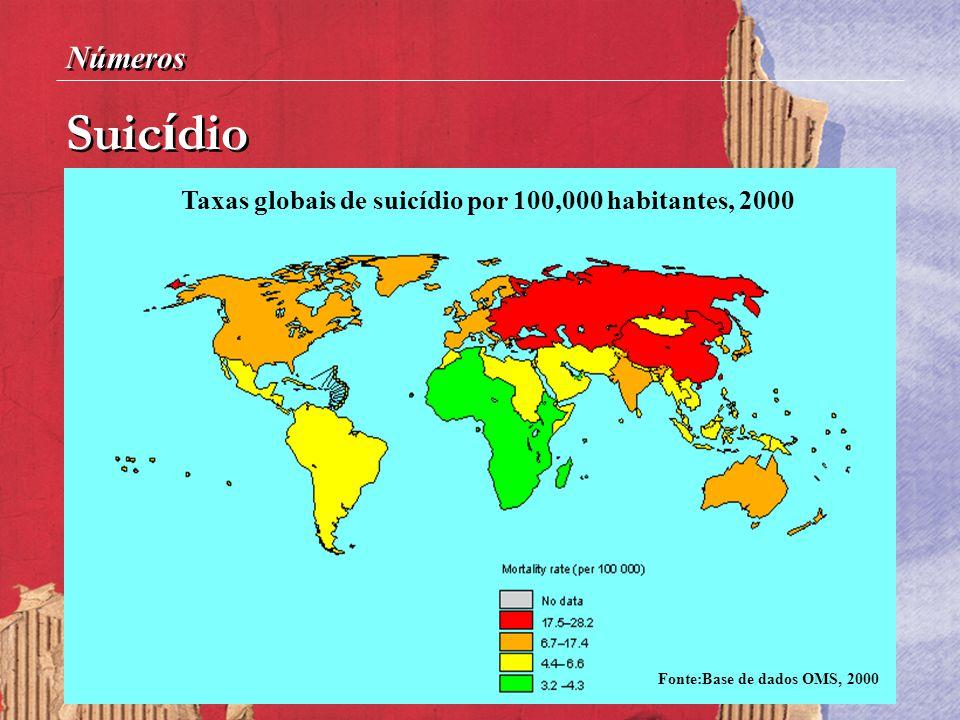 Suic í dio Números Taxas globais de suicídio por 100,000 habitantes, 2000 Fonte:Base de dados OMS, 2000