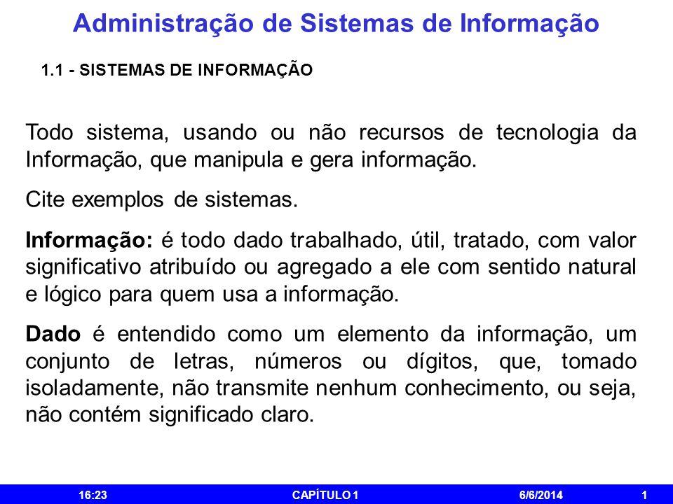 Administração de Sistemas de Informação 16:25CAPÍTULO 16/6/20141 1.1 - SISTEMAS DE INFORMAÇÃO Todo sistema, usando ou não recursos de tecnologia da In