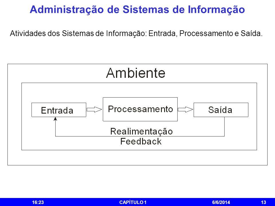 Administração de Sistemas de Informação 16:25CAPÍTULO 16/6/201413 Atividades dos Sistemas de Informação: Entrada, Processamento e Saída.