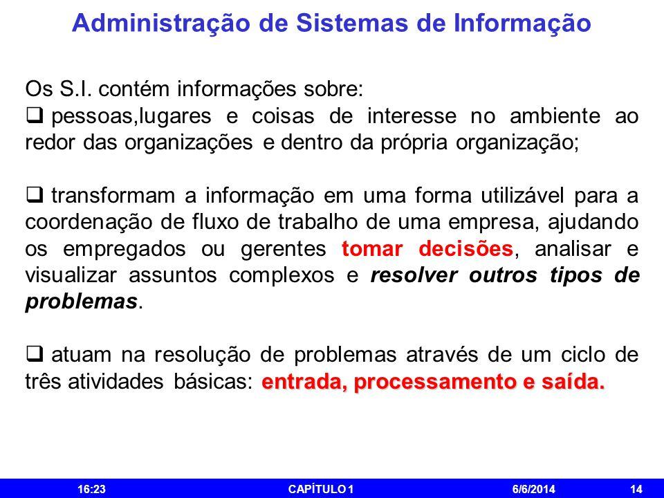 Administração de Sistemas de Informação 16:25CAPÍTULO 16/6/201414 Os S.I. contém informações sobre: pessoas,lugares e coisas de interesse no ambiente