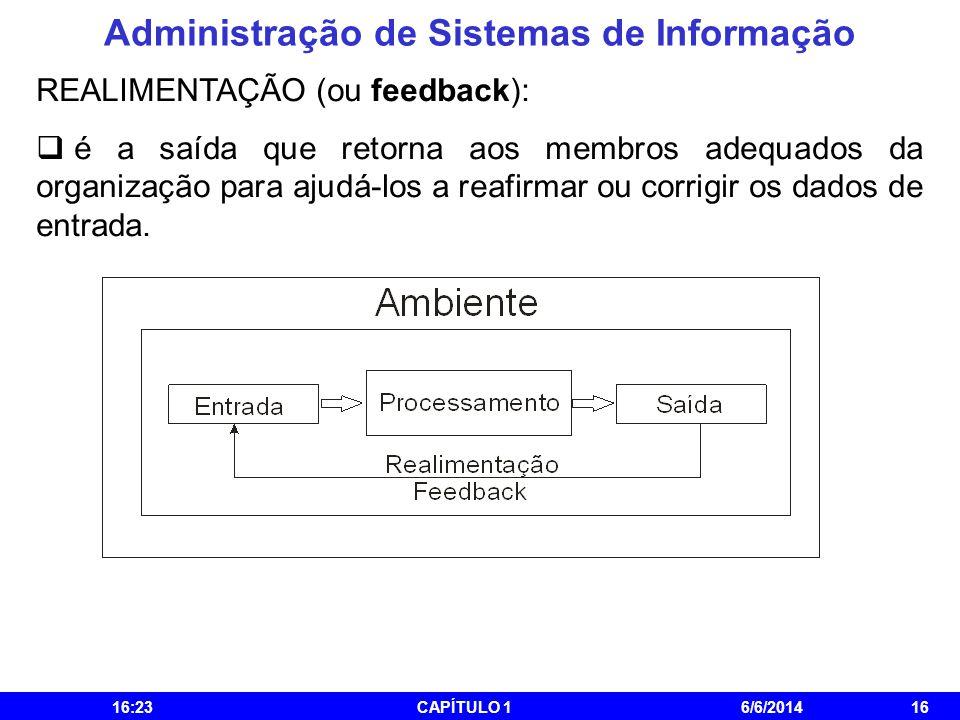 Administração de Sistemas de Informação 16:25CAPÍTULO 16/6/201416 REALIMENTAÇÃO (ou feedback): é a saída que retorna aos membros adequados da organiza
