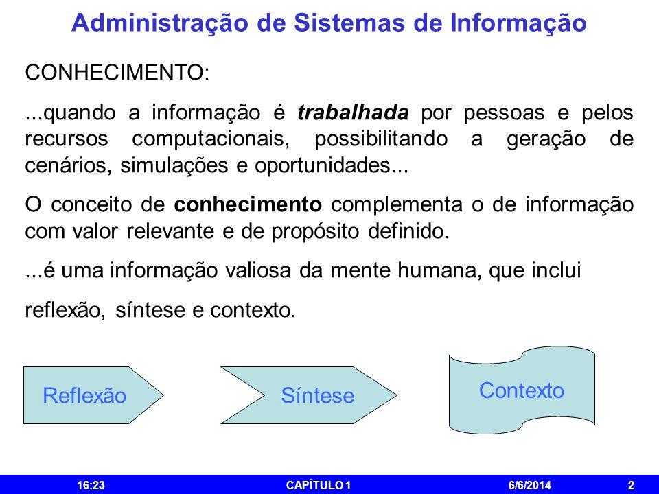 Administração de Sistemas de Informação 16:25CAPÍTULO 16/6/20142 CONHECIMENTO:...quando a informação é trabalhada por pessoas e pelos recursos computa