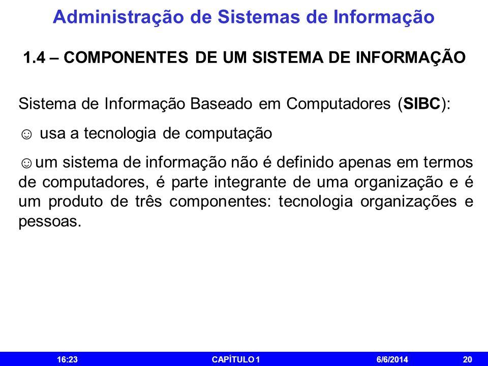 Administração de Sistemas de Informação 16:25CAPÍTULO 16/6/201420 1.4 – COMPONENTES DE UM SISTEMA DE INFORMAÇÃO Sistema de Informação Baseado em Compu