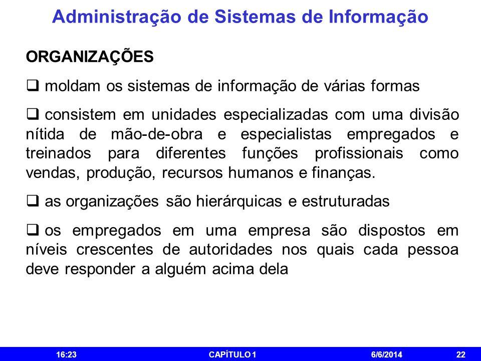 Administração de Sistemas de Informação 16:25CAPÍTULO 16/6/201422 ORGANIZAÇÕES moldam os sistemas de informação de várias formas consistem em unidades