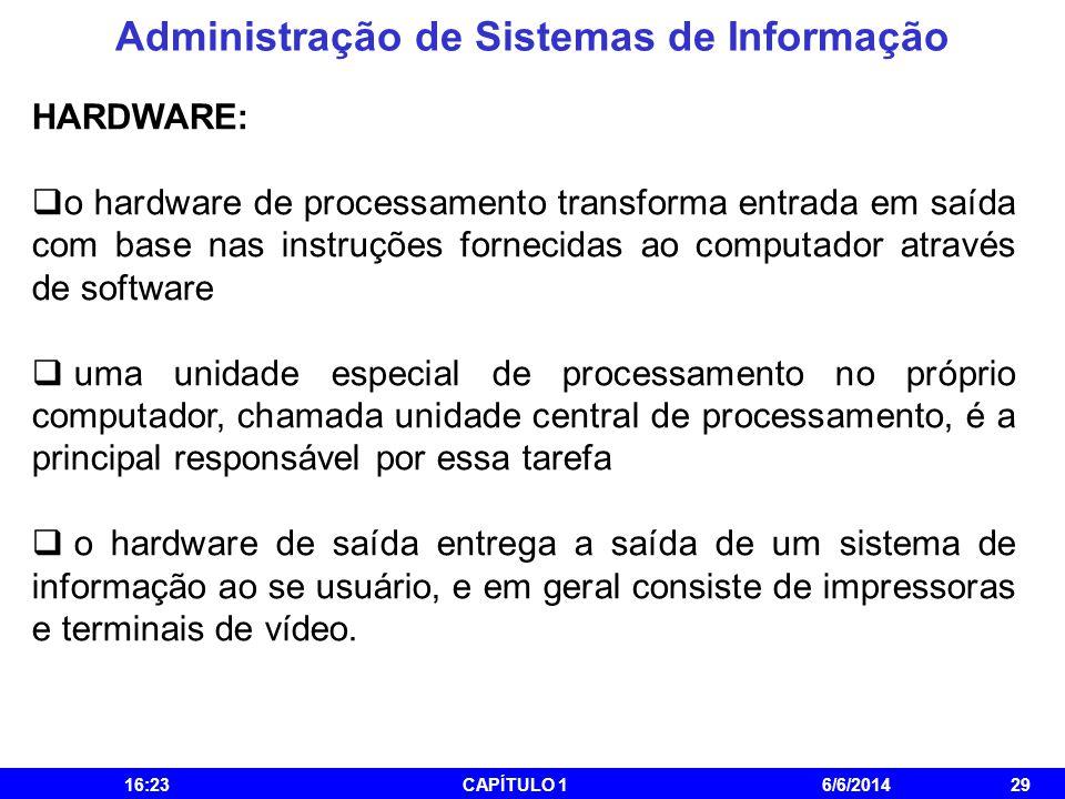 Administração de Sistemas de Informação 16:25CAPÍTULO 16/6/201429 HARDWARE: o hardware de processamento transforma entrada em saída com base nas instr