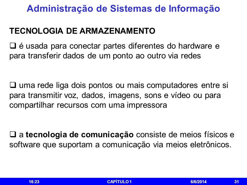 Administração de Sistemas de Informação 16:25CAPÍTULO 16/6/201431 TECNOLOGIA DE ARMAZENAMENTO é usada para conectar partes diferentes do hardware e pa
