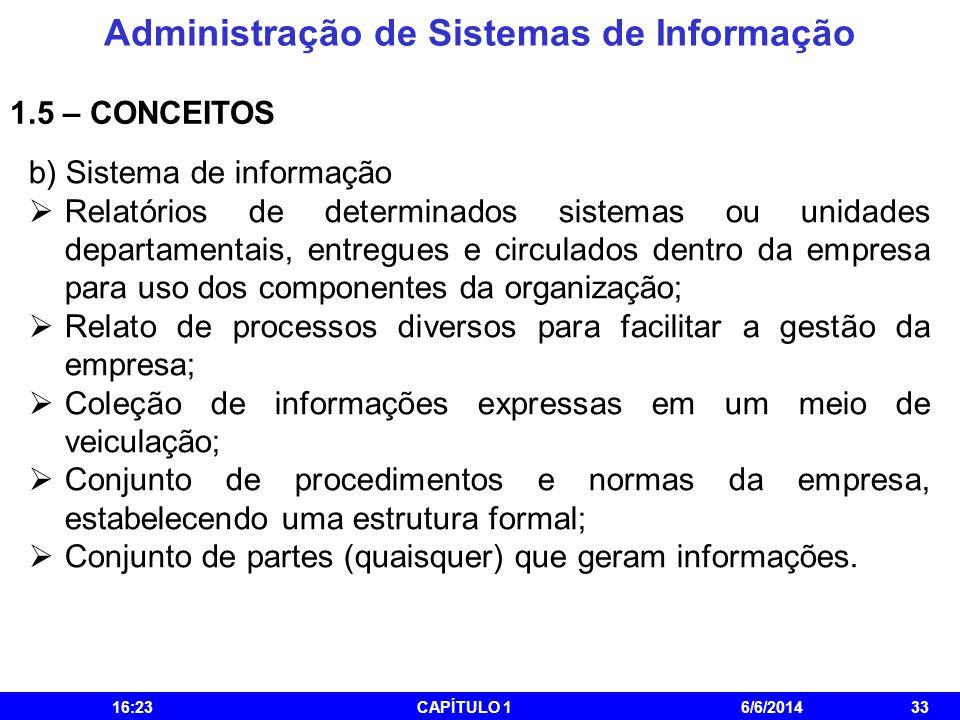 Administração de Sistemas de Informação 16:25CAPÍTULO 16/6/201433 1.5 – CONCEITOS b) Sistema de informação Relatórios de determinados sistemas ou unid