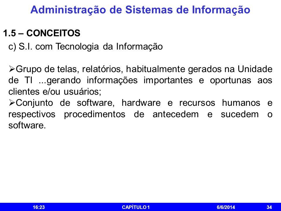Administração de Sistemas de Informação 16:25CAPÍTULO 16/6/201434 1.5 – CONCEITOS c) S.I. com Tecnologia da Informação Grupo de telas, relatórios, hab