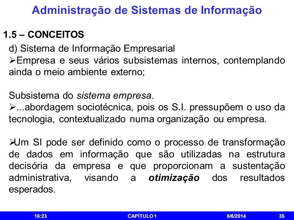 Administração de Sistemas de Informação 16:25CAPÍTULO 16/6/201435 1.5 – CONCEITOS d) Sistema de Informação Empresarial Empresa e seus vários subsistem