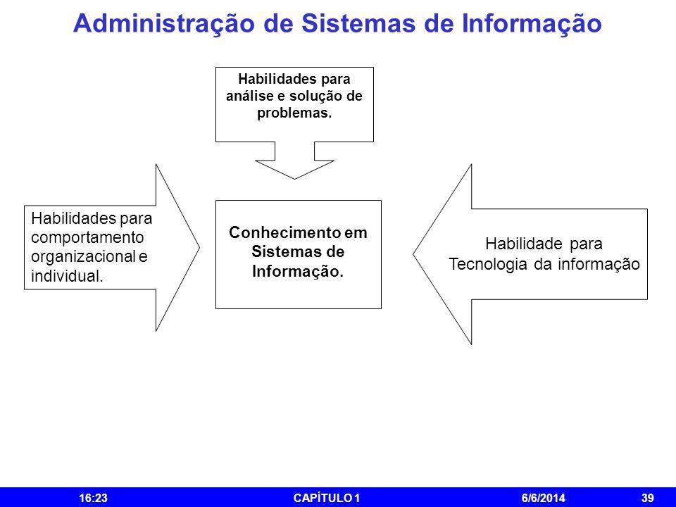 Administração de Sistemas de Informação 16:25CAPÍTULO 16/6/201439 Habilidades para análise e solução de problemas. Habilidades para comportamento orga