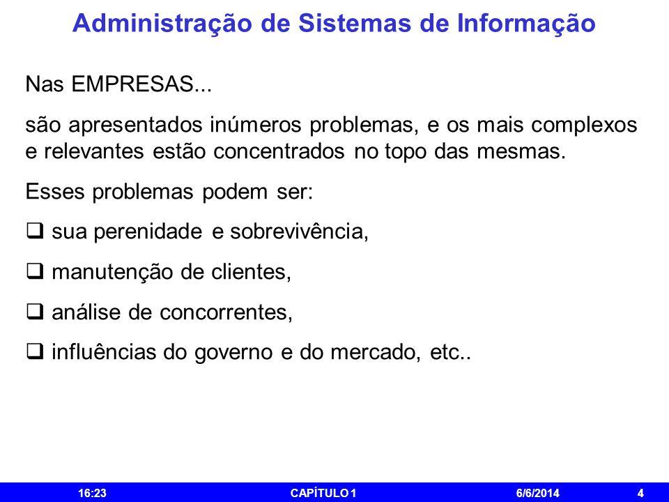 Administração de Sistemas de Informação 16:25CAPÍTULO 16/6/20144 Nas EMPRESAS... são apresentados inúmeros problemas, e os mais complexos e relevantes