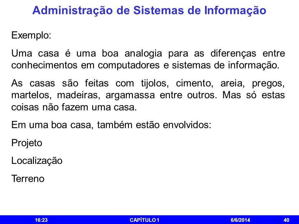 Administração de Sistemas de Informação 16:25CAPÍTULO 16/6/201440 Exemplo: Uma casa é uma boa analogia para as diferenças entre conhecimentos em compu