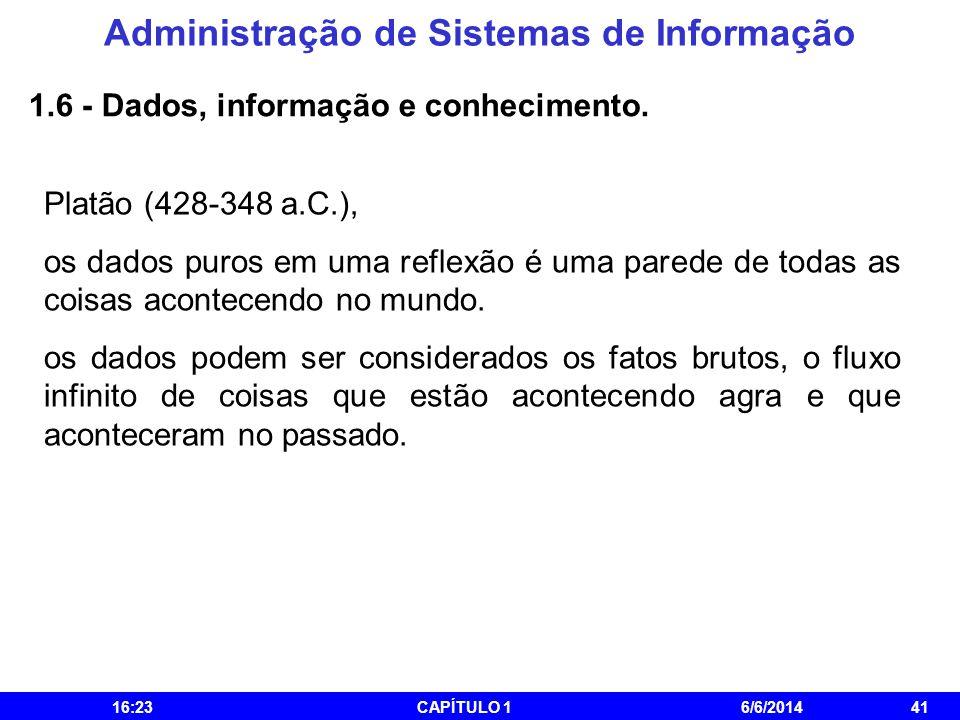 Administração de Sistemas de Informação 16:25CAPÍTULO 16/6/201441 1.6 - Dados, informação e conhecimento. Platão (428-348 a.C.), os dados puros em uma