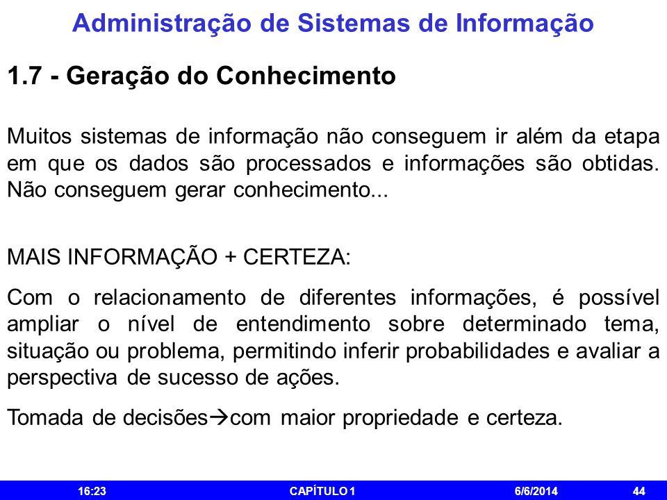 Administração de Sistemas de Informação 16:25CAPÍTULO 16/6/201444 Muitos sistemas de informação não conseguem ir além da etapa em que os dados são pro