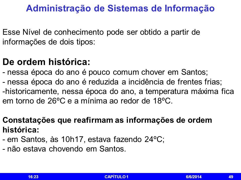 Administração de Sistemas de Informação 16:25CAPÍTULO 16/6/201449 Esse Nível de conhecimento pode ser obtido a partir de informações de dois tipos: De
