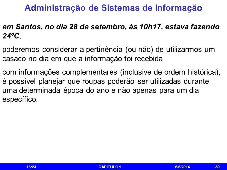 Administração de Sistemas de Informação 16:25CAPÍTULO 16/6/201450 em Santos, no dia 28 de setembro, às 10h17, estava fazendo 24ºC, poderemos considera