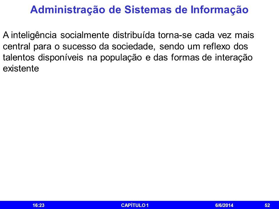 Administração de Sistemas de Informação 16:25CAPÍTULO 16/6/201452 A inteligência socialmente distribuída torna-se cada vez mais central para o sucesso
