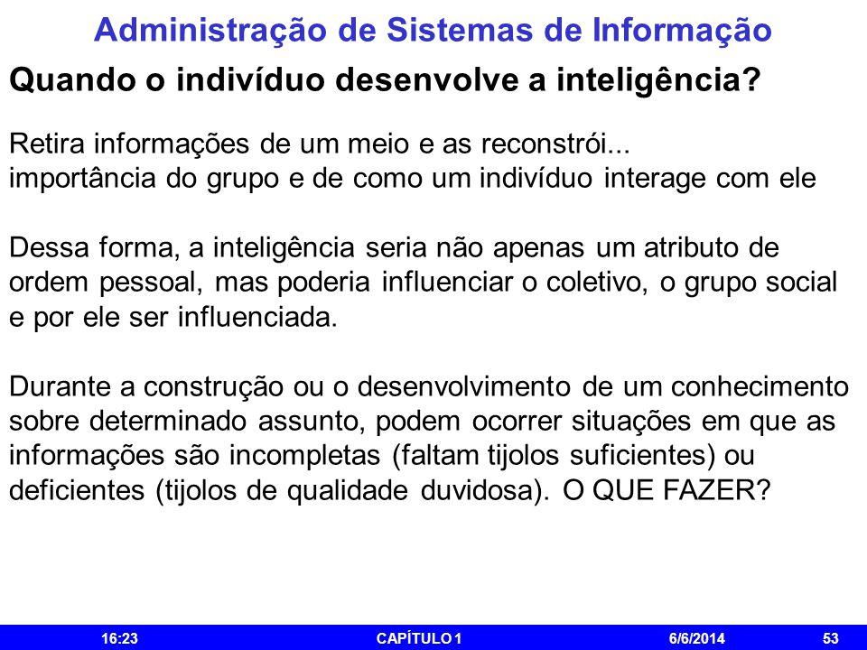 Administração de Sistemas de Informação 16:25CAPÍTULO 16/6/201453 Quando o indivíduo desenvolve a inteligência? Retira informações de um meio e as rec