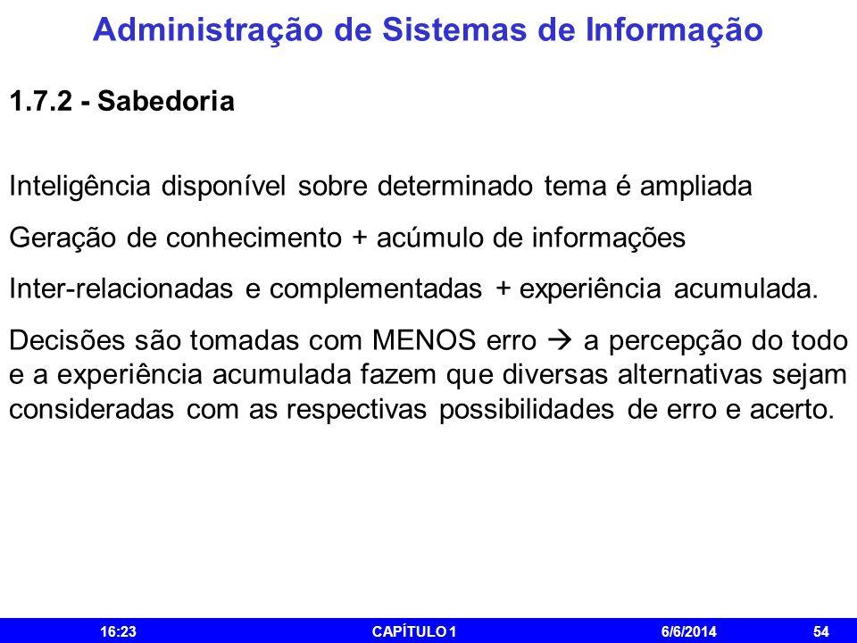 Administração de Sistemas de Informação 16:25CAPÍTULO 16/6/201454 1.7.2 - Sabedoria Inteligência disponível sobre determinado tema é ampliada Geração