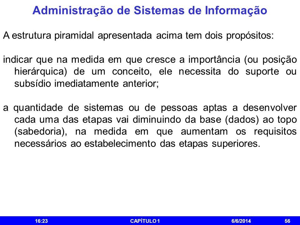 Administração de Sistemas de Informação 16:25CAPÍTULO 16/6/201456 A estrutura piramidal apresentada acima tem dois propósitos: indicar que na medida e