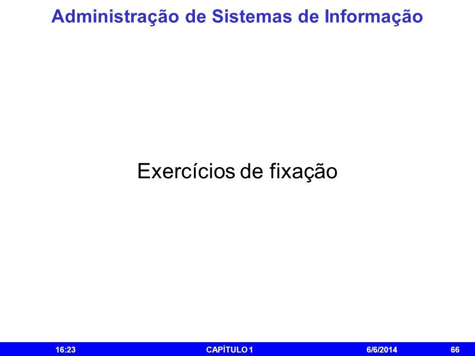 Administração de Sistemas de Informação 16:25CAPÍTULO 16/6/201466 Exercícios de fixação
