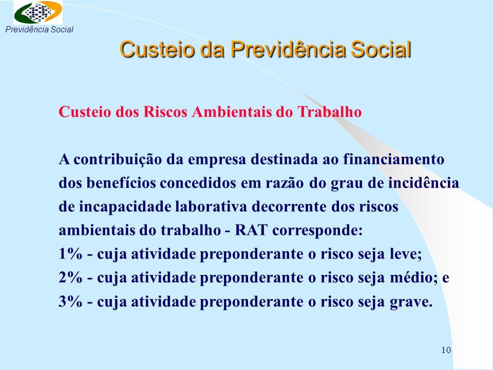 10 Custeio da Previdência Social Custeio da Previdência Social Custeio dos Riscos Ambientais do Trabalho A contribuição da empresa destinada ao financ