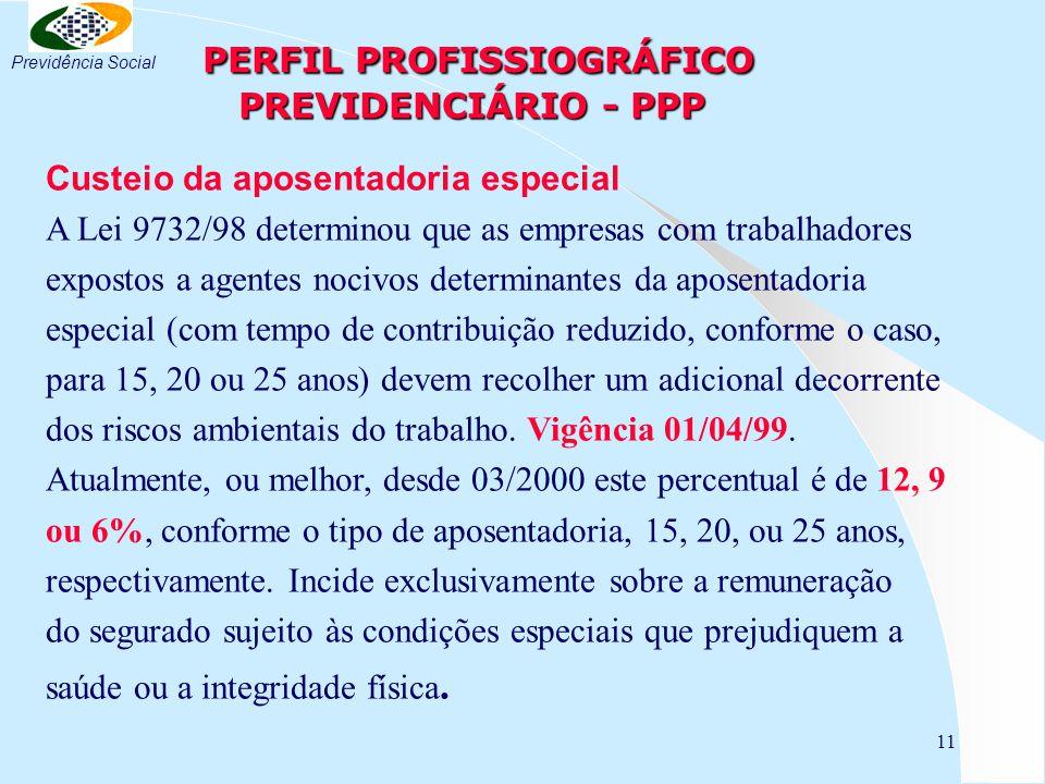 11 PERFIL PROFISSIOGRÁFICO PREVIDENCIÁRIO - PPP PERFIL PROFISSIOGRÁFICO PREVIDENCIÁRIO - PPP Custeio da aposentadoria especial A Lei 9732/98 determinou que as empresas com trabalhadores expostos a agentes nocivos determinantes da aposentadoria especial (com tempo de contribuição reduzido, conforme o caso, para 15, 20 ou 25 anos) devem recolher um adicional decorrente dos riscos ambientais do trabalho.