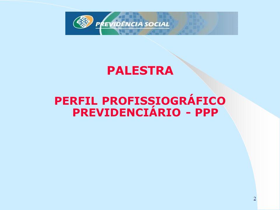23 PERFIL PROFISSIOGRÁFICO PREVIDENCIÁRIO - PPP PERFIL PROFISSIOGRÁFICO PREVIDENCIÁRIO - PPP Preenchimento do PPP O PPP é composto de vários campos que integram informações extraídas do Laudo Técnico de Condições Ambientais do Trabalho (LTCAT), do Programa de Prevenção de Riscos Ambientais (PPRA), do Programa de Gerenciamento de Riscos (PGR) e do Programa de Controle Médico de Saúde Ocupacional (PCMSO Previdência Social