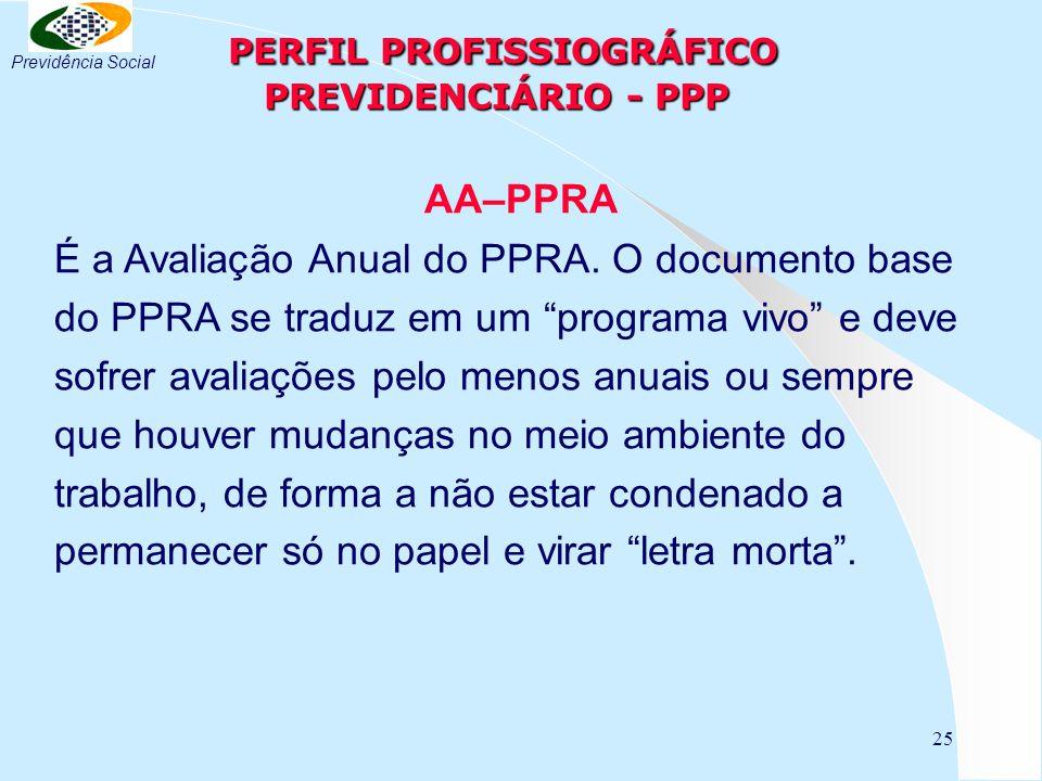 25 PERFIL PROFISSIOGRÁFICO PREVIDENCIÁRIO - PPP PERFIL PROFISSIOGRÁFICO PREVIDENCIÁRIO - PPP AA–PPRA É a Avaliação Anual do PPRA. O documento base do