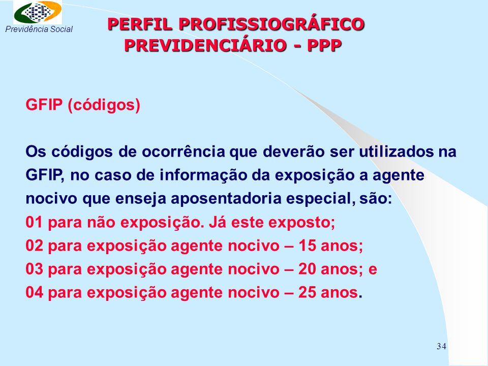 34 PERFIL PROFISSIOGRÁFICO PREVIDENCIÁRIO - PPP PERFIL PROFISSIOGRÁFICO PREVIDENCIÁRIO - PPP GFIP (códigos) Os códigos de ocorrência que deverão ser utilizados na GFIP, no caso de informação da exposição a agente nocivo que enseja aposentadoria especial, são: 01 para não exposição.