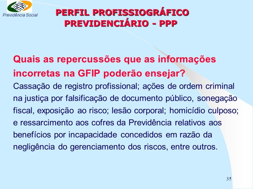 35 PERFIL PROFISSIOGRÁFICO PREVIDENCIÁRIO - PPP PERFIL PROFISSIOGRÁFICO PREVIDENCIÁRIO - PPP Quais as repercussões que as informações incorretas na GFIP poderão ensejar.