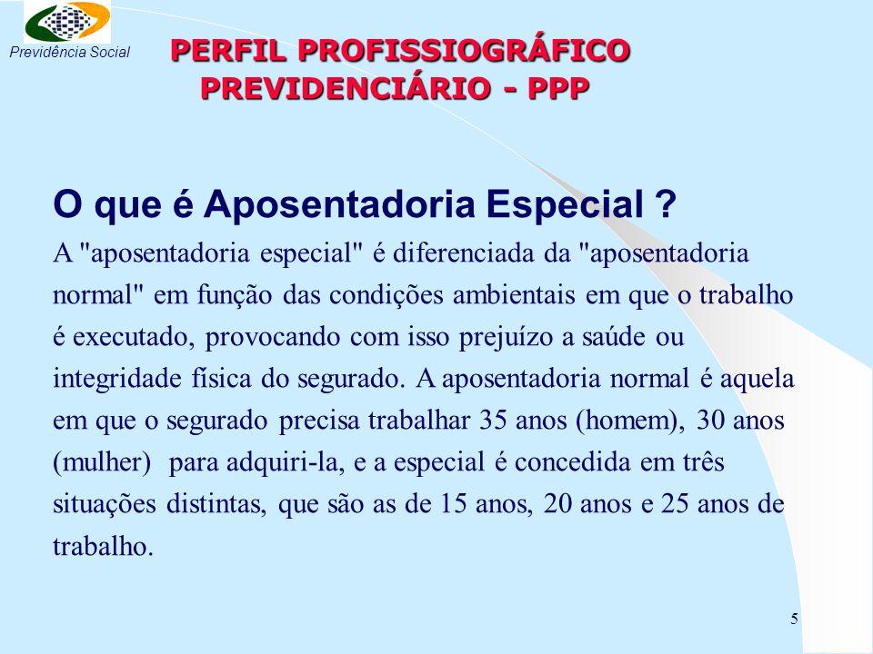 5 PERFIL PROFISSIOGRÁFICO PREVIDENCIÁRIO - PPP PERFIL PROFISSIOGRÁFICO PREVIDENCIÁRIO - PPP O que é Aposentadoria Especial .