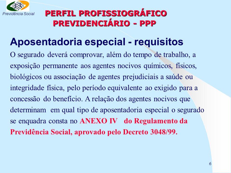 6 PERFIL PROFISSIOGRÁFICO PREVIDENCIÁRIO - PPP PERFIL PROFISSIOGRÁFICO PREVIDENCIÁRIO - PPP Aposentadoria especial - requisitos O segurado deverá comp